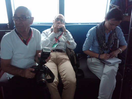 From left to right: Lino Arrigo Azzopardi, Karl Stagno Navarra, and Ruth Castillo, heading out to sea in an AFM patrol boat's bridge, to cover an illegal immigration event, one of many between years 2002 and 2012. And I recall, as the military Public Affairs Officer escorting them, that everyone was missing cellphone connectivity out there to transmit their journalism products.