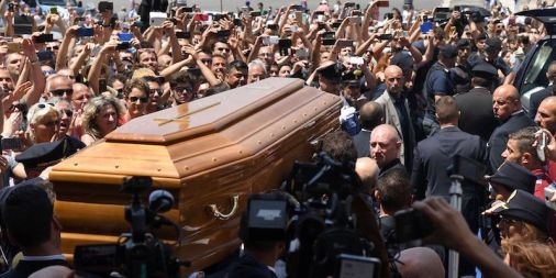 Bud Spencer's funeral at the basilica of Santa Maria in Montesanto in Roma – better known as the Chiesa degli artists, 30 June 2016 (TIZIANA FABI/AFP/Getty Images)