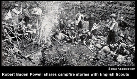 At Scouting's first campout held at Brownsea Island off the coast of England in 1907, Baden-Powell hosted a campfire each evening.