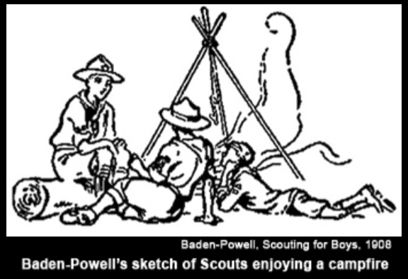 BADEN-POWELL'S SKETCH OF SCOUTS ENJOYING CAMPFIRE